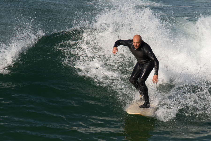 Surfing near Manhattan Beach Pier